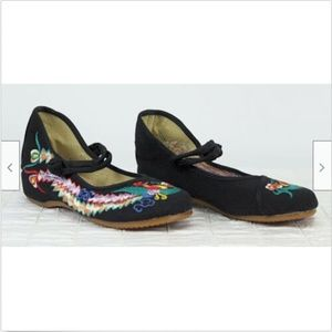 Chinese Mary Janes Shoes Black Bird sz 6.5